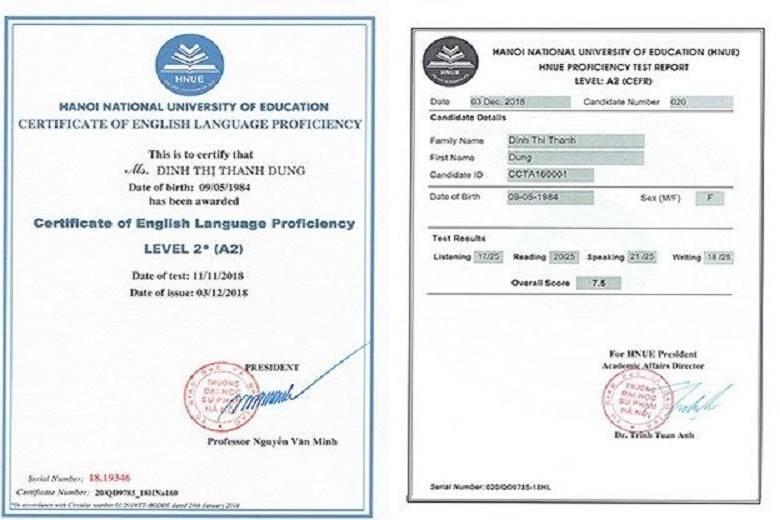 mua chứng chỉ tiếng anh A2 tại Hà Nội