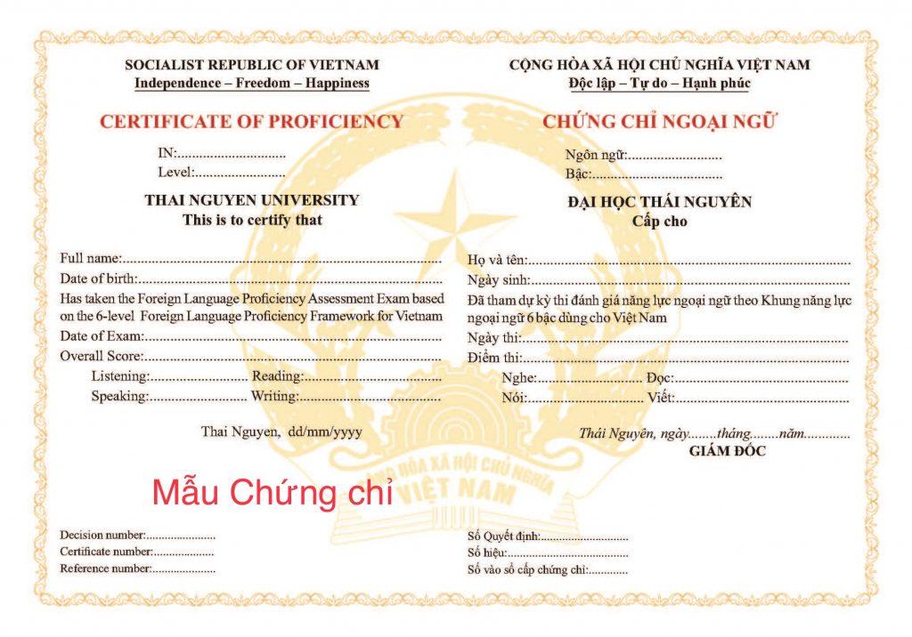 Lịch thi chứng chỉ tiếng Anh Đại học Thái Nguyên